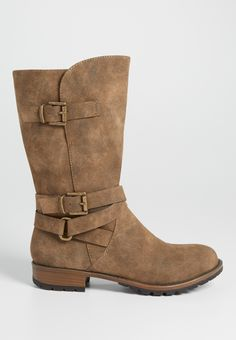 Sarah distressed faux suede boot with buckles in tan