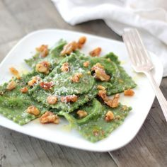 Spinach Ravioli with Ricotta + Herb-Butter Sauce.