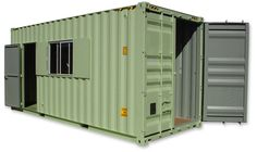 A refurbished shipping container that has been made into a small house.