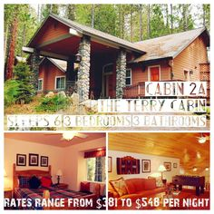 #YosemiteVacation promo time! #CabinWednesday at the #RedwoodsInYosemite #Cabin 2A The Terry Cabin ~ Sleeps 6 3 Bedrooms | 3 Bathrooms | Fully equipped kitchen | Gas BBQ | Satellite TV | DSL/WiFi | Foosball Table Current Special: 7th Night FREE!!! #Happy #humpday