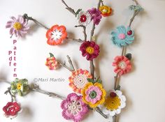 crochet flowers | Crochet Flower Applique is a pattern to make beautiful 10 flowers and ...