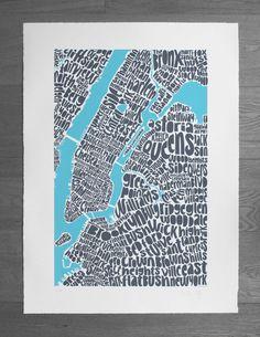 beautiful NYC typographic map