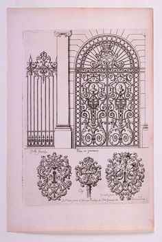 """Tombstone:  Print, """"Designs for a Gate, a Railing Panel, Two Key Hole Ornaments, and a Key Top"""", ca. 1700.Smithsonian, Cooper-Hewitt, National Design Museum"""