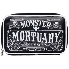 Defying death is just another day's work for the stiffs at the Monster Mortuary. Zippered, vinyl clutch with printed front side and coordinating vinyl piping opens up to plenty of storage for cards, c Dark Edgy Fashion, Zombie Style, Pin Up Tattoos, Goth Women, Halloween Fashion, Gothic Jewelry, Clutch Wallet, Purses And Bags, Accessories