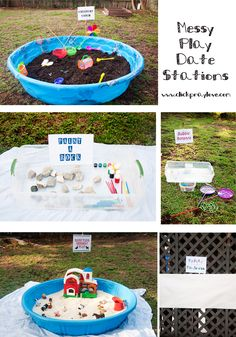 Outdoor Messy Play Date Stations. Perfect for keeping the kids busy for hours! Such an awesome DIY activity for kids during the summer. #DIY #SummerActivities #FunKids –– ClickPrayLove.com