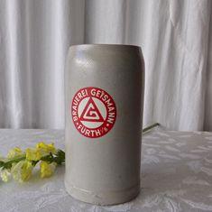 Vintage Stoneware Beer Stein Large One Liter Mug Vintage Candy, Vintage Pins, Vintage Floral, German Beer Steins, Pink Ring, Vintage Christmas Ornaments, Hot Coffee, Brewery, Stoneware