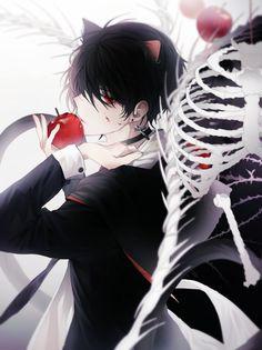 Anime Neko, Kawaii Anime, Anime Guys, Manga Anime, Anime Art, Anime Girl With Black Hair, Neko Boy, Anime Devil, Handsome Anime
