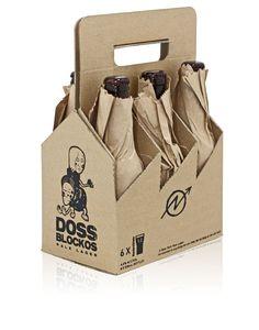 Doss BlockosBeer - The Dieline - uso del papel como envoltorio, asociación al tema de tomar en la calle.
