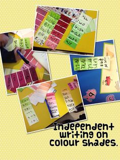 Independent writing on colour shade cards. Idea originally from Literacy Shed.