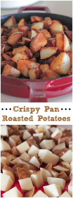 Crispy Pan Roasted Potatoes!  Perfect for breakfast as a side, inside a breakfast burrito, you name it, they're sooo good!