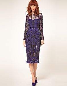 Perfect for a winter wedding. Heavy embellishment means understated accessories, and midi length is on trend, as well as flattering. By ASOS Collection.