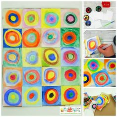 Kandinsky art project for kids.  Concentric circles in squares.  Exploring famous artists.