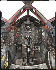 Lockheed SR-71 Blackbird: I love this cockpit. The outside of the Blackbird is so futuristic but the inside is straight out of the 50's