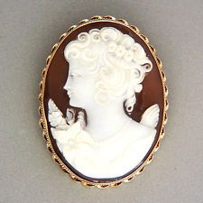 Hand Carved Dark Background Shell Cameo Pendant/Brooch Of A Woman's Profile, Mounted In 14k Gold Frame With Twisted Wire Border