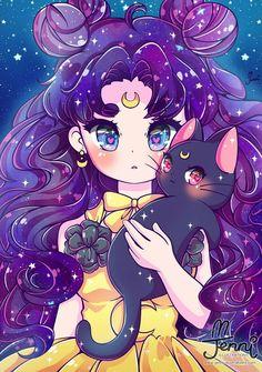 Luna by jennillustrations Sailor Moon Crystal, Luna Sailor Moon, Sailor Moon Fan Art, Sailor Moon Character, Sailor Mars, Cute Animal Drawings Kawaii, Kawaii Art, Cute Drawings, Kawaii Anime