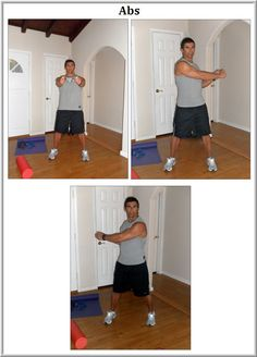 Tony Martinez recommends the following abdominal exercise: While standing, twist with arms straight to the front; alternate twist left/right. Do 10 reps on each side; 2-3 sets. #Nutrisystem