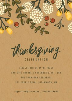 Thanksgiving Dinner Invitation. Celebrate Thanksgiving in style with this rustic Festive Autumn Foliage Card by Karidy Walker on Minted.com