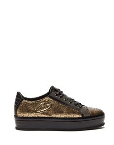 TOKI TOWER SNEAKERS IN GOLDEN LEATHER WITH CRACKLE EFFECT - Shoes Woman - Guardiani Sport