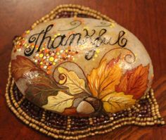 Hand painted Autumn Thanks Stone by EmmysHeartsnCrafts on Etsy