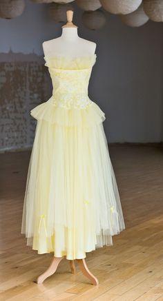 1950s Lemon Tulle Dress
