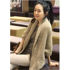 Fashion Large Turndown Collar With Fur Long Batwing Sleeves Fish Net Knitting Sweaters For Women - Beige