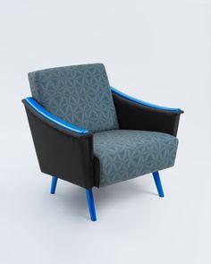 eed7dbdb193 Funky Blue  original unique mid century modern vintage chair geometric  pattern textile digital print design
