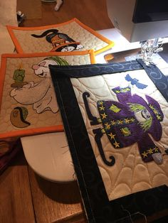 Mug Rugs Set Halloween Quilted Art Embroidered Witch Black