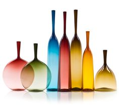 Joe Cariati Glass Collection, Glassblower in Los Angeles, Contemporary Decanters Dale Chihuly, Colored Glass Bottles, Coloured Glass, Art Nouveau, Glass Photography, Art Of Glass, Glass Collection, Hand Blown Glass, Architecture Design