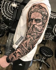 Amazing artist Dode Pras from awesome Pos. - Amazing artist Dode Pras from awesome Poseidon angel horse r - Zeus Tattoo, Statue Tattoo, Poseidon Tattoo, Half Sleeve Tattoos For Guys, Arm Sleeve Tattoos, Leg Tattoo Men, Tattoo Sleeve Designs, Mens Full Sleeve Tattoo, Tattoo Ink