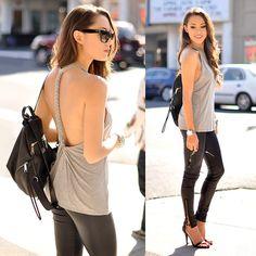 Lovers + Friends Sunlight Tank, Rebecca Minkoff Leather Backpack, Daily Look Black Heels