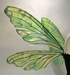 Teasel painted fairy wings in Absinthe! Digitally hand painted on laminate vinyl and iridescent film over an aluminum cut frame. Available to order in any color tone at my Etsy store! Please note m...