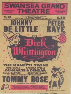 DIck Whittington Poster from Swansea Grand Theatre Pantomime Archive