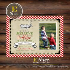 Printable Vintage Reindeer Photo Christmas Card - Believe in the Magic Rustic Christmas Picture Card