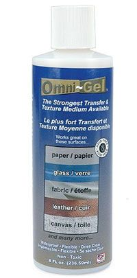 Omni-gel image transfer and texture medium / 1pc      Omni-Gel is a transfer agent. Use for transferring images from photo to polymer clay, glass, metal, fabric and leather, or canvas.