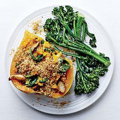 Shiitake-Stuffed Butternut with Quinoa Streusel | CookingLight.com #myplate #vegetables #wholegrain