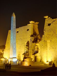Luxor Temple Entrance with Obelisk of Ramses II., by night