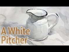 Watercolor painting a white pitcher - painting with monochrome - YouTube