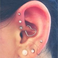 Daith Heart Rook Piercing Daith Piercing by iluvpiercingsntats