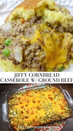 Jiffy Cornbread casserole with ground beef is a great meal to fix for the entire family. The cheeseburger casserole recipe is budget-friendly and feeds quite a few people. The dish fed two teenage boys, my husband, and myself and we had leftovers. Plus, it's super easy to make, which takes the pain out of making dinner. #groundbeef #cornbread #jiffycornbread #easyrecipe #dinner Jiffy Cornbread Recipes, Beef Casserole Recipes, Cornbread Casserole, Ground Beef Casserole, Ground Beef Dishes, Ground Beef Recipes, Funeral Food, Meat Recipes For Dinner, Quick Meals