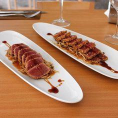 Has probado nuestro tataki de atún rojo? / You've tried our bluefin tuna tataki? #loscazadoresdecorvera #goodfood #gastronomia #tataki #tatakideatun #tunatataki #murcia #corveramurcia #corveragolf #corveragolfresort #quality #costacalida by loscazadoresdecorvera