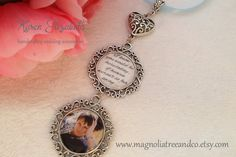 Our handcrafted double pendant memorial/bridal charm is a wonderful way to have those dear to your heart close to you on your special day.  Pendants come personalized with your choice of personal photo and quote I know you would be here today, if heaven werent so far away... , or you may choose to have two photos. Our charm is designed to create a lasting keepsake of your special day.  Charm comes with a 12 length of white, black or baby blue or royal blue ribbon for something blue allowing…