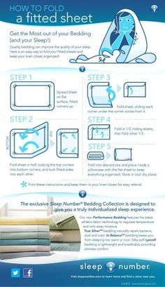 Always wondered how to fold a fitted sheet? This #infographic offers a simple five-step process to do it the right way. Print it out and keep it in your bedroom for quick and easy reference! by elisa