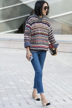 Once again Eva Chen added her Chanel flats to her Fashion Week look, this time in jeans. Image Source: Gett...