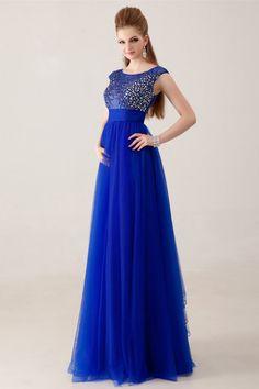2014 Magnificent Scoop Neckline Cap Sleeve Prom Dress Beaded Tulle Bodice With Bow Kont USD 149.99 LDPPDQN8B7 - LovingDresses.com