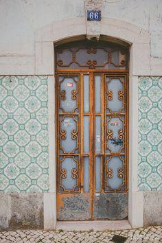 Door Photo, Portugal Photos, Travel Photos, Distressed Door, Europe Photos, Door Print, Green Tile, Lisbon Photos, Rusty Door, Lisbon Tile