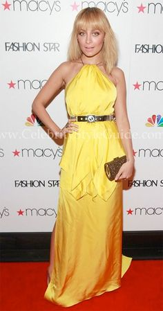 """Nicole Richie wore this stunning bright lemon Julien Macdonald Empire Layered Silk-Satin and Chiffon Gown at the premiere party for the new NBC series """"Fashion Star"""" in New York City March 13, 2012"""