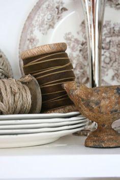 VIBEKE DESIGN~Rustic metal, brown velvet, brown transferware