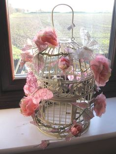 Shabby Chic Vintage Style | Cream Shabby Chic Style Bird Cage Decorated with Flowers & Butterflies