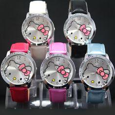 Fahion Hello Kitty Watches Girls Children Cartoon Cute Quartz Watch Multi Colors Leather Women Dress Kids Watches Mujer Relojes