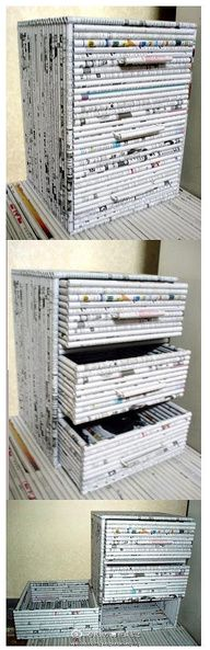 rolled newspaper drawers - Could turn into a cute doll house/log cabin for Barbie. Just paint brown.